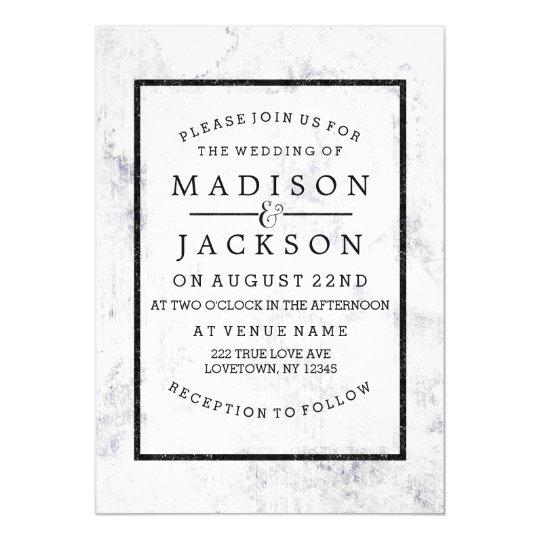 Chic White & Grey Marble Wedding Invitations