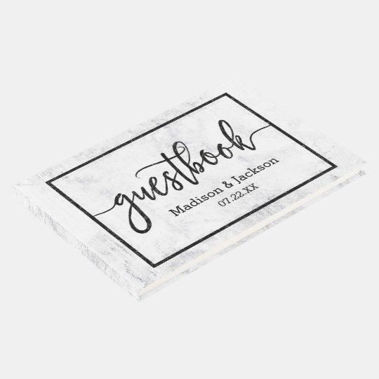 Chic White & Grey Marble Wedding Monogram Guest