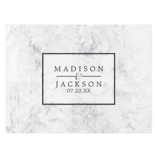 Chic White & Grey Marble Wedding Monogram Tablecloth