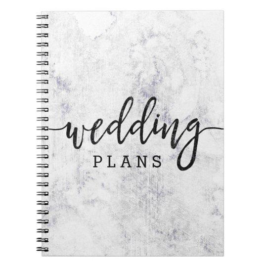 Chic White & Grey Marble Wedding Planner Spiral