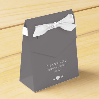 Chic White on Titanium Wedding Heart and Arrow Favour Box