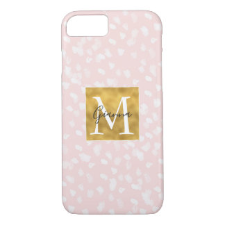 Chic White Pink Spots Gold Monogram iPhone 8/7 Case