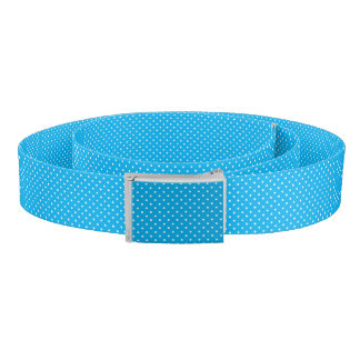 Chic White Polka Dots on Bright Turquoise Pattern Belt
