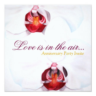Chic white red orchids wedding anniversary invites