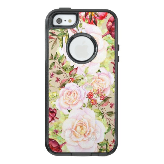 Chic White Roses & Colourful Flowers OtterBox iPhone