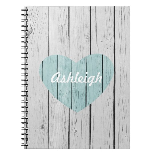 Chic White Rustic Faux Wood Heart Notebook