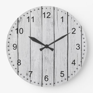 Chic White Rustic Faux Wood Large Clock
