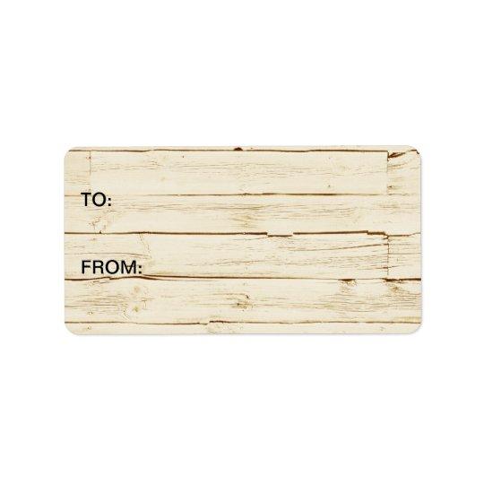 Chic White Rustic Wood Address Label