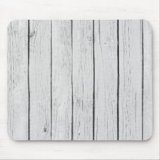 Chic White Rustic Wood Mouse Mat