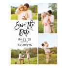 Chic White Save The Date 4-Photo Collage Postcard