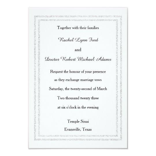 Chic White Silver Glitter Trim-3x5Wedding Invitate Card