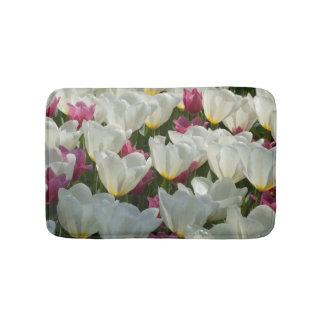 Chic White Tulips Photo Bathmat Bath Mats