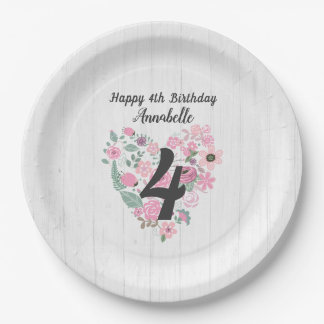 Chic White Wood & Whimsical Floral Happy Birthday Paper Plate