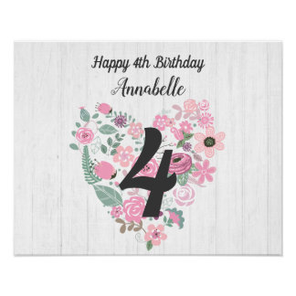 Chic White Wood & Whimsical Floral Happy Birthday Poster