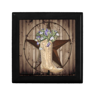 Chic Wildflower Texas Star Western country cowgirl Small Square Gift Box
