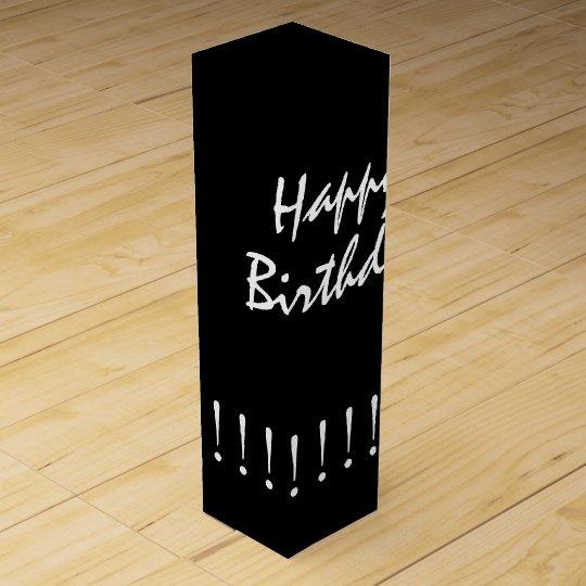 "CHIC WINE GIFT_""Happy Birthday"" WHITE ON BLACK Wine"
