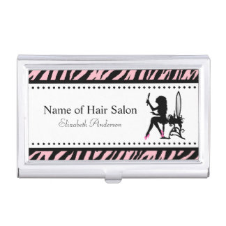 Chic Woman Pink and Black Zebra Hair Salon Business Card Holders