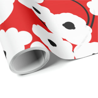 CHIC WRAPPING PAPER_ MOD  BLUE & BLACK POPPIES WRAPPING PAPER
