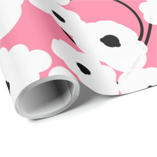 CHIC WRAPPING PAPER_ MOD  PINK & BLACK POPPIES WRAPPING PAPER