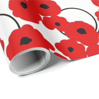 CHIC WRAPPING PAPER_ MOD RED & BLACK POPPIES WRAPPING PAPER