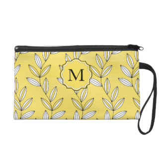 CHIC WRISTLE_BUTTER YELLOW FLORAL/VINES WRISTLET PURSES