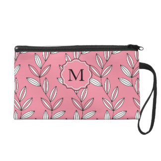 CHIC WRISTLE_GIRLY 27 PINK FLORAL/VINES WRISTLET CLUTCHES