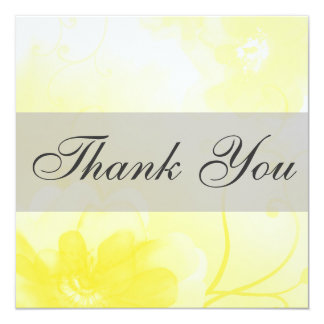 Chic Yellow and Gray Flower Thank You Card / Note 13 Cm X 13 Cm Square Invitation Card