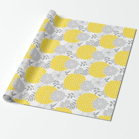 Chic Yellow and Grey Floral Pattern Wrapping Paper