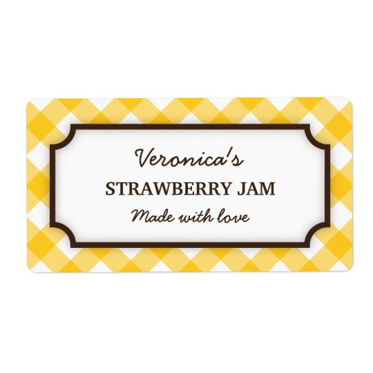 Chic yellow and white gingham canning jar labels
