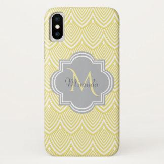 Chic Yellow Art Deco Scallops Gray  Monogram Name iPhone X Case