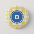 Chic yellow greek key geometric patterns monogram 6 cm round badge