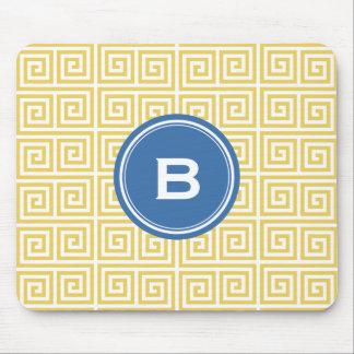 Chic yellow greek key geometric patterns monogram mousepads