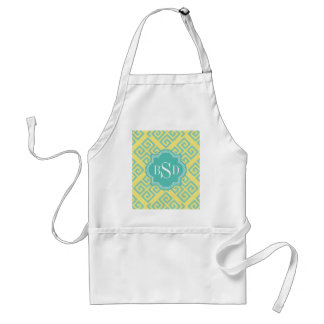 Chic yellow greek key geometric patterns monogram standard apron