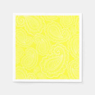 Chic Yellow Paisley Floral Design Wedding Disposable Serviette