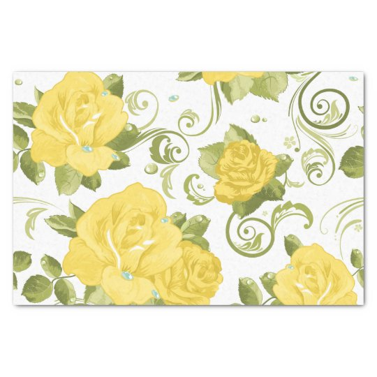 Chic Yellow Roses Floral Pattern Tissue Paper