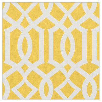 Chic Yellow Trellis Lattice Pattern Fabric