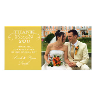 Chic yellow Wedding Photo Thank You Cards Picture Card