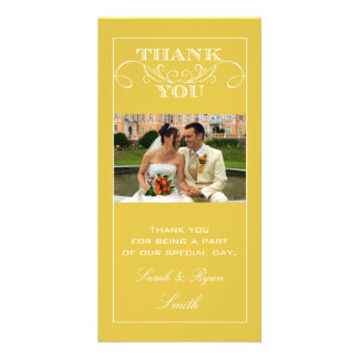 Chic Yellow Wedding Thank You Photo Cards