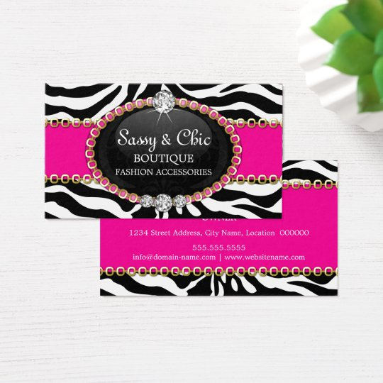 Chic Zebra Fashion Accessory and Jewellery Business Card