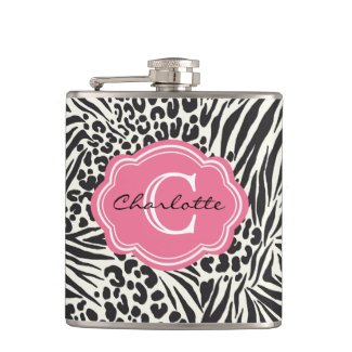 Chic Zebra Leopard and Pink Custom Monogram Flask