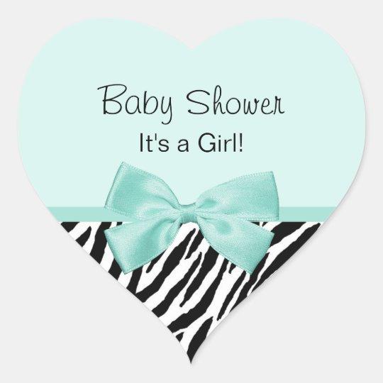 Chic Zebra Mint Ribbon Girly Baby Shower Heart