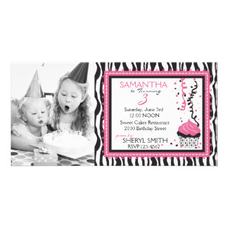 Chic Zebra Print Birthday Invitation PC Photo Greeting Card