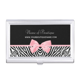 Chic Zebra Print Boutique Light True Pink Ribbon Business Card Holder