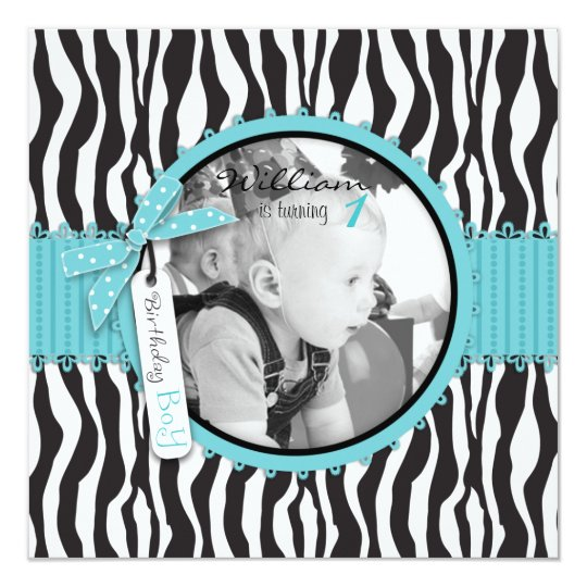 Chic Zebra Print Cupcake Birthday Invitation SQ-2