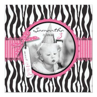 Chic Zebra Print & Cupcake Birthday Photo Template 13 Cm X 13 Cm Square Invitation Card