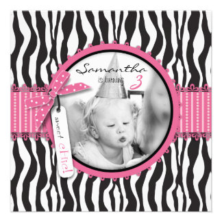 Chic Zebra Print Cupcake Birthday Photo Template Announcements