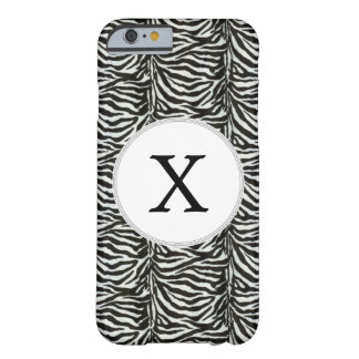 Chic zebra print customized initial monogram barely there iPhone 6 case