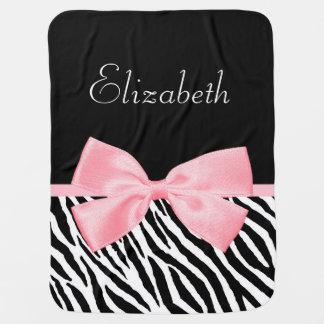 Chic Zebra Print Girly Light Pink Ribbon Baby Name Baby Blanket