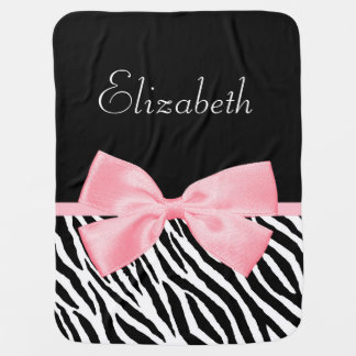 Chic Zebra Print Girly Light Pink Ribbon Baby Name Buggy Blankets