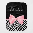 Chic Zebra Print Girly Light Pink Ribbon Baby Name Burp Cloth